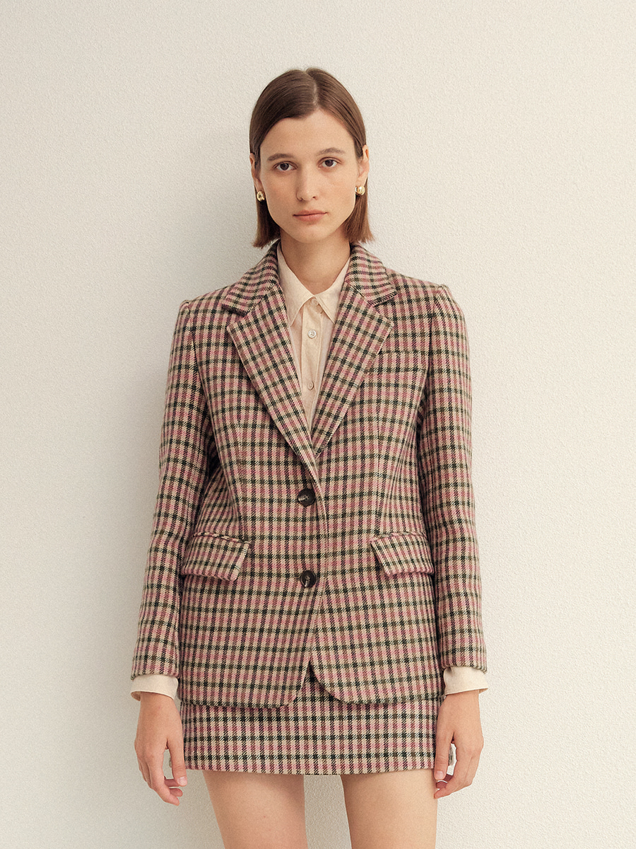 PINK GINGHAM CHECK SINGLE FIT WOOL JACKET  핑크 깅엄 체크 싱글핏 울 자켓
